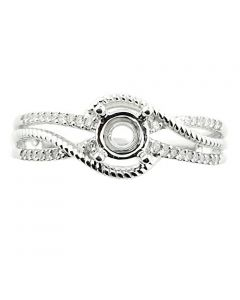 10K White Gold Semi Mount Ring Fits 0.5ct Round Solitaire Bypass Style 1/8cttw (i1/i2, I/j)
