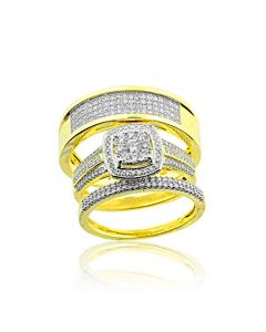 10K Yellow Gold His and Her Rings Set 3/4cttw Diamonds Halo Style 3pc Set (i2/i3, I/j)