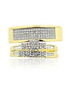 10K Yellow Gold Trio Set His and Hers 1/2cttw Diamonds 3pc Set (i2/i3, I/j)