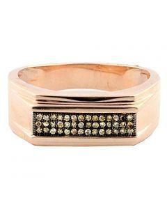 10K Rose Gold Mens Cognac Diamond Wedding Band Ring 0.15cttw 8mm Wide