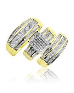 Yellow Gold Trio Wedding Set Mens Women Rings Real 2/3cttw Diamonds Pave(I/j Color 0.65cttw)