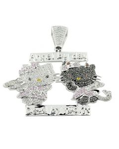 10K White Gold Hellow Kitty Custom Charm 1cttw Black and White Diamonds (i2/i3, I/j)