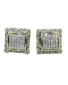 Mens Large Diamond Earrings 10mm Wide Real 10K Gold and Real 0.2ct Diamond Screw Back