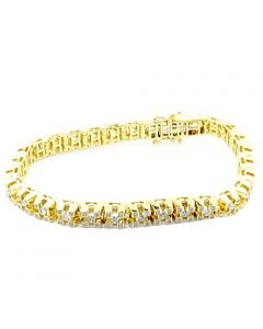 10K Yellow Gold Mens Diamond Tennis Bracelet 2.3cttw 7mm Wikde With Round Solitaires 8.5Inch Long(i2/i3, i/j)