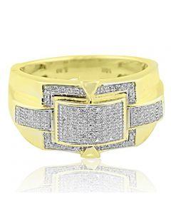 10K Yellow Gold Mens Fashion Ring 1/3cttw Diamonds Pave Set 12mm Wide(i2/i3, I/j)