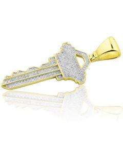 10K Yellow Gold Key Pendant With Diamond 42mm Tall 0.60ctw (i2/i3, i/j)