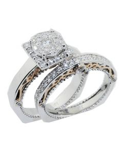 14K White Gold 1.15ctw Diamond Bridal Set Euro Shank and Rose Gold Tone 12mm Wide (i1/i2, h/i)