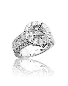 2.4ctw Diamond Semi Mount Bridal Wedding Ring Large Halo 14mm Wide 14K White Gold Fits 1ct (i1/i2, h/i)