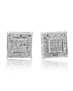 8.5mm Wide Diamond Earrings Square Pave Set Sterling Silver Screw Back(i2/i3, i/j)