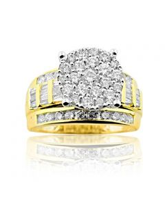 2.00ctw Diamond Bridal Wedding Ring 3 in 1 Style Extra Wide 11mm 10K Yellow Gold(i2/i3, i/j)