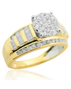 1.00ctw Diamond Bridal Wedding Ring 3 in 1 Style Extra Wide 10mm 10K Yellow Gold(i2/i3, i/j)