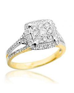 10K Gold Bridal Wedding Ring 11mm Wide 0.70ctw Diamond Split Shoulder(i2/i3, i/j)