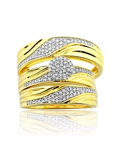 1/2cttw Diamond His and Her Wedding Trio Rings Set 10K Yellow Gold 16mm Wide(i2/i3, i/j)