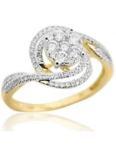 14K Yellow Gold Diamond Engagement Ring Swirl Style 12mm Wide 0.65ctw(i2/i3, i/j)