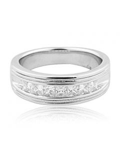Mens Wedding Band Ring 1ctw Princess Cut CZ 8mm Wide Comfort Fit