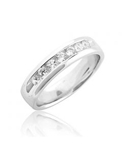 0.50ctw Mens Wedding Band Comfort Fit 5.5mm Wide Solid Sterling Silver and CZ