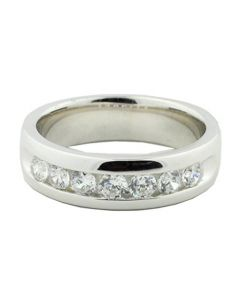 1ctw Mens Wedding Band Ring 6mm Wide Solid Comfort Fit Sterling Silver and CZ