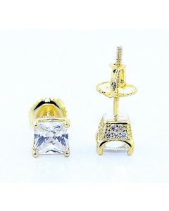 Princess Cut Stud Earrings Yellow Gold-Tone Silver With Pave Set Cz 4 Prong Screw Bakc 6mm Wide