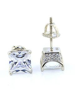 Princess Cut Stud Earrings 8mm Wide Sterling Silver Screw Back 4 prong With Pave Sides