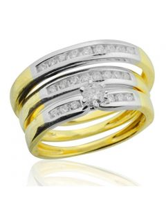 14K Yellow Gold and White Gold Tone His and Her Trio Rings Set 0.60cttw Diamonds 10mm Wide (i2/i3, I/j)