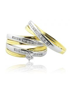 14K Two Tone Trio Rings Set His and Hers Wedding Set 1/2cttw Diamonds 15mm Wide(i2/i3, I/j)