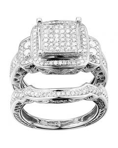 10K White Gold 1cttw White Diamond Halo Rings Set Bridal Wedding Set 17mm Wide (i2/i3, I/j)