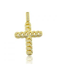 Sterling Silver Cross Charm Chain Cuban Style 49mm Tall Yellow Gold-Tone