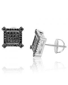 Black CZ Earrings Mens Fashoin Earrings 9mm Wide Sterling Silver and Screw Back Studs