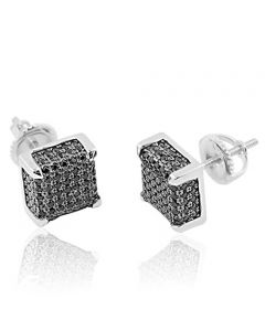 Sterling Silver Cube Earrings Black CZ Studs Mens Fashion Earrings 8mm Wide Screw Back