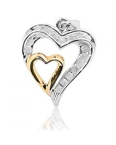 1/4cttw Diamond Twin Hearts Pendant 10K White Gold and Rose Gold Tone 23mm Tall