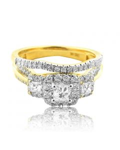1.00CTTW Wedding Ring Set 14K Yellow Gold 3 Stone Style Princess Cut Center 2pc(i2/i3, I/j)