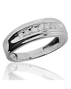 7MM Wide Mens Wedding Band 10K White Gold 1/4cttw Ring (i2/i3, i/j)