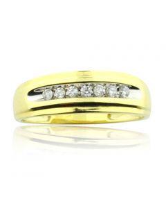 10K Yellow Gold Wedding Ring Mens 7mm Wide 0.17cttw Diamonds (i2/i3, i/j)