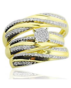 10K Yellow Gold Trio Rings Set His and Her Rings 1/4ctw Diamonds 14mm Wide (i2/i3, i/j)
