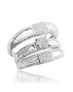 His and Her Trio Rings Set 10K White Gold 15mm Wide 1/2cttw Diamonds(i2/i3, i/j)