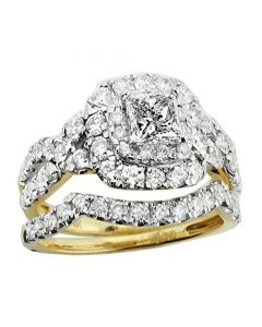 14K Yellow Gold Wedding Ring Set Princess Cut 1/2ct Center 2.00cttw Diamonds 12mm Wide (i1/i2, i/j)