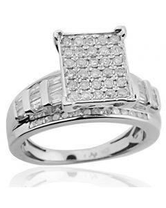 10K White Gold 1/2ctw Diamond Bridal Engagement Ring 9mm Wide(i2/i3, I/j)