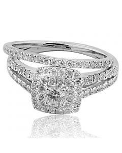 1.00ctw Diamond Wedding Ring Set 14K White Gold Double Halo Style 9mm Wide (i2/i3, i/j)