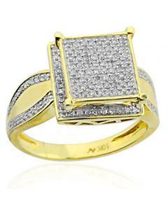 10K Gold Diamond Wedding Ring Square Halo 12mm Wide 1/2cttw (i2/i3, I/j)