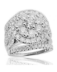 4.00ctw Diamond Wedding Ring Set 3pc 14K White Gold Large Round Halo(i2/i3, i/j)