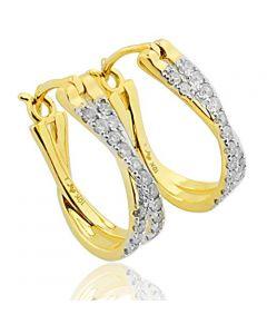 10K Yellow Gold Hoop Earrings 1/4cttw Diamonds 15mm Criss Cross Style(i2/i3, I/j)