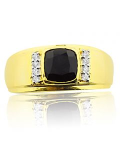 10K Yellow Gold Mens Ring With Black Onyx and Diamonds 10mm Wide(i2/i3, I/j)