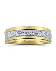 10K Gold Men's Wedding Band Ring 7mm Wide 1/2cttw Diamond (i2/i3, I/j)