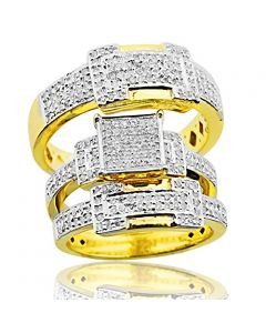 14K Gold His and Her Ring Sets 1.00ctw Diamond Square Top 21mm Wide(i2/i3, i/j)