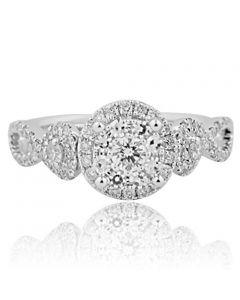 14K White Gold Vintage Inspired Bridal Engagement Ring 0.70ctw (i2/i3, I/j)