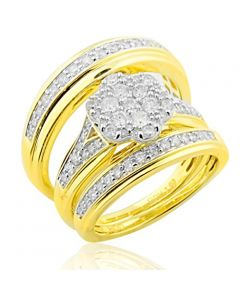 His and Her Trio Rings Set 10K Gold Mens and Womens 3pc Set 1.00ct Diamond(i2/i3, I/j)