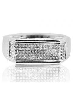 1/4ctw Diamond Wedding Band Mens Pave Set 6mm Wide White Gold-Tone Silver(i2/i3, I/j)