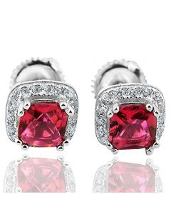 Princess Cut Red Cz Halo Earrings Studs in Sterling Silver CZ Width 7mm Screw back