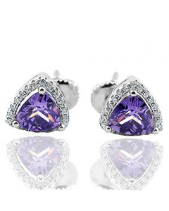 Trillion Shaped Purple and White Cz Stud Earrings in Sterling Silver CZ 9mm Screw back