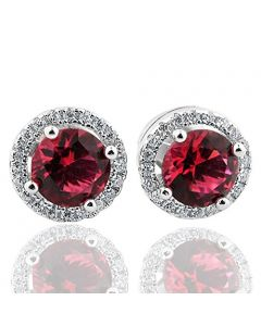 Sterling Silver Simulated Red CZ and White Cz Halo Stud Earrings 8.5mm Screw back